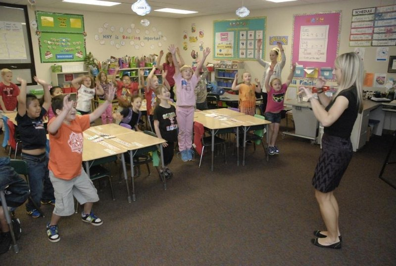 2nd graders engaging in classroom physical activity at Stout Field Elementary School in Indianapolis, IN.